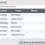 Eating out transactions for July